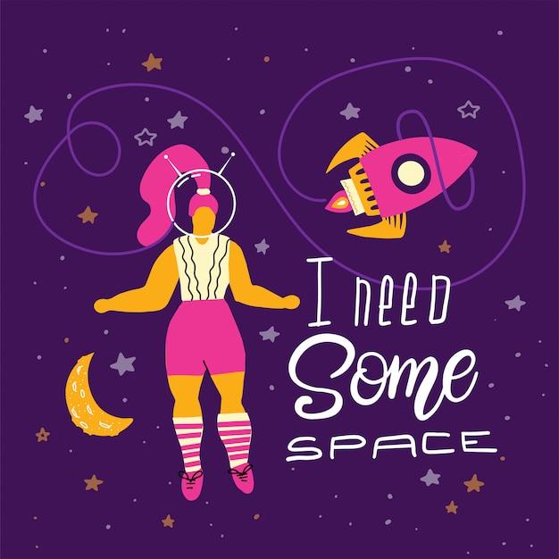 Além de mulher de tamanho no espaço com letras Vetor Premium