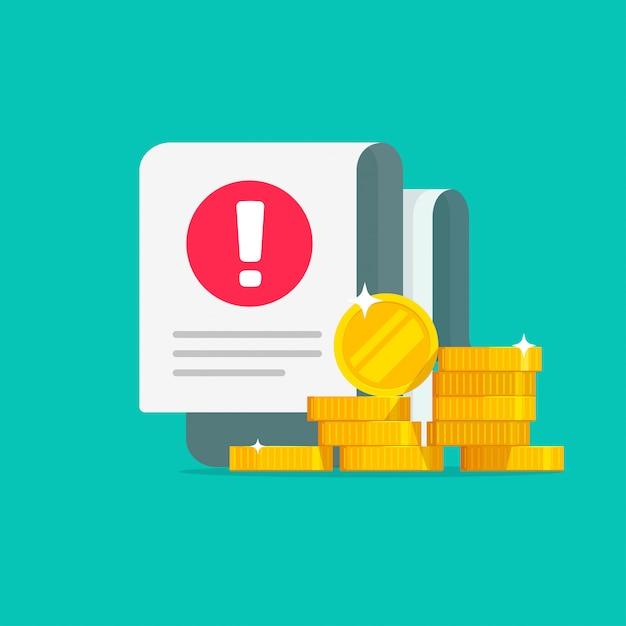 Alerta de aviso de erro de transação de dinheiro em fatura de fraude de documento Vetor Premium