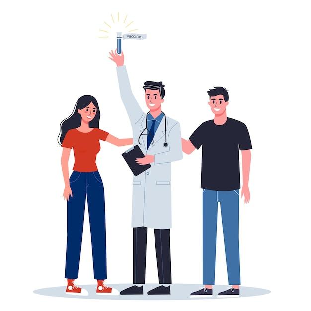 , alerta de coronovírus. pesquisa e desenvolvimento de uma vacina preventiva. doutor segurando uma fórmula de vacina. Vetor Premium