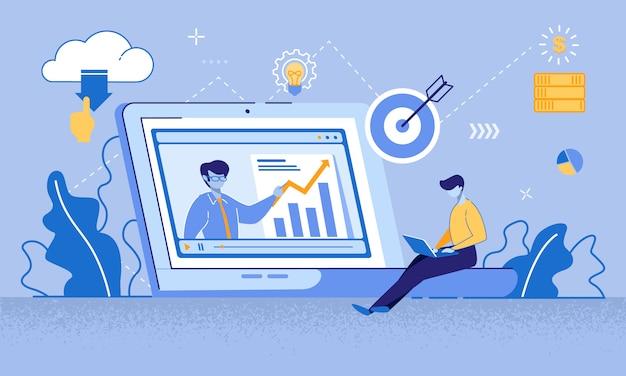 Alfabetização financeira tutorial de vídeo de marketing alvo Vetor Premium