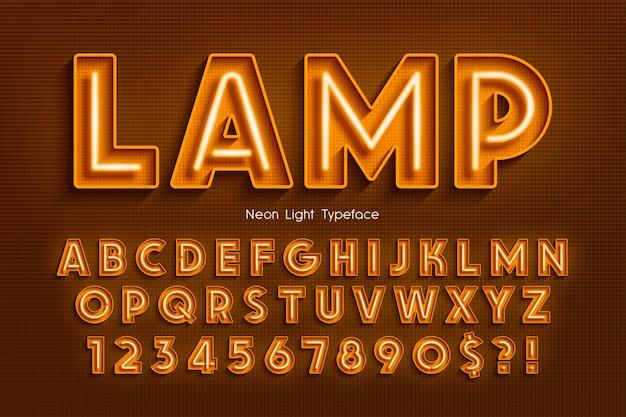 Alfabeto 3d de luz de neon Vetor Premium