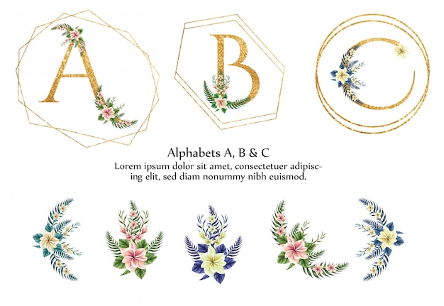 Alfabeto a, b, c Vetor Premium