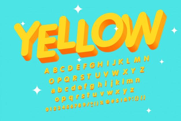 Alfabeto amarelo 3d vintage Vetor Premium