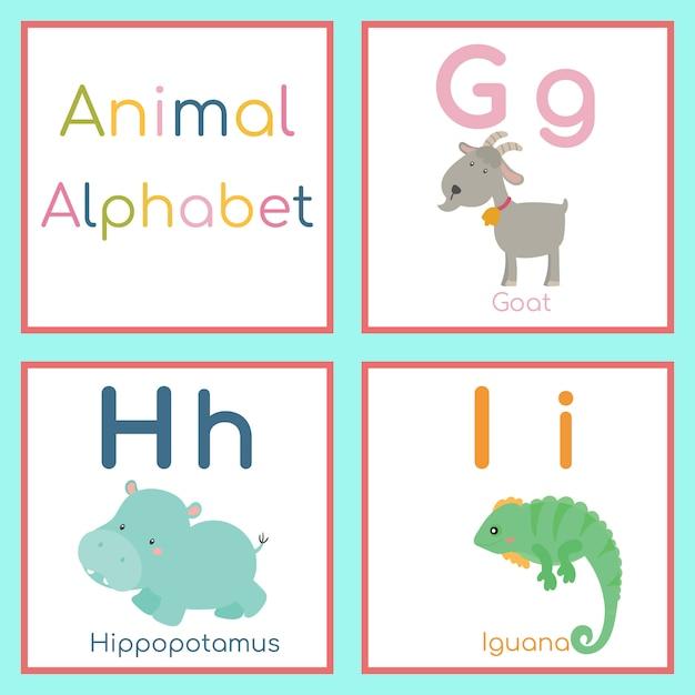 Alfabeto animal bonito. g, h, eu carta. cabra, hipopótamo, iguana. Vetor Premium