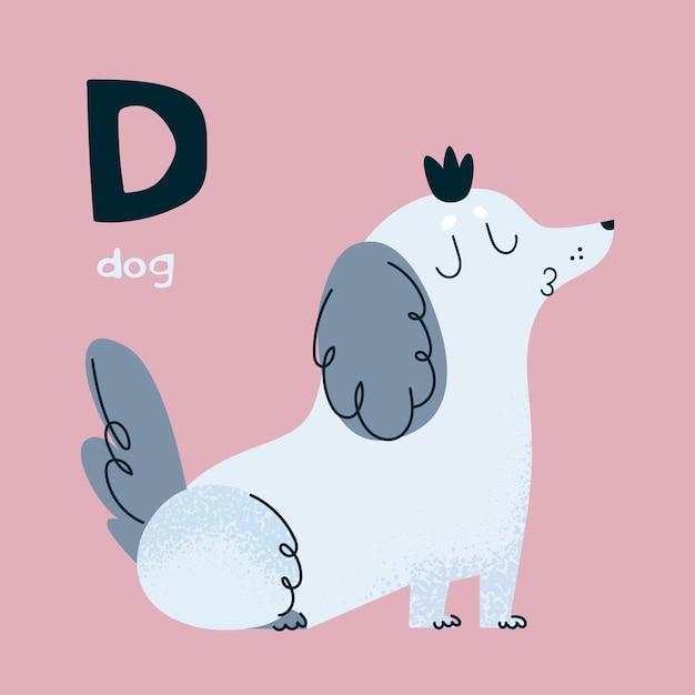 Alfabeto animal. cão de estimação. letra d. Vetor Premium