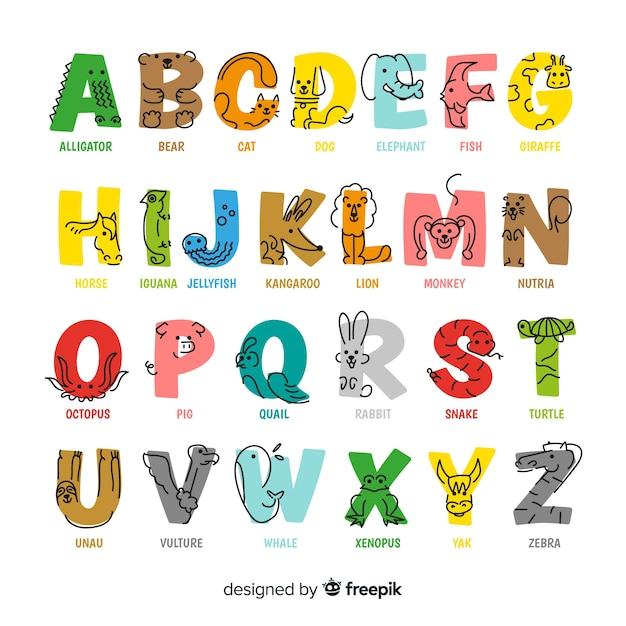 Alfabeto animal colorido em design plano Vetor grátis