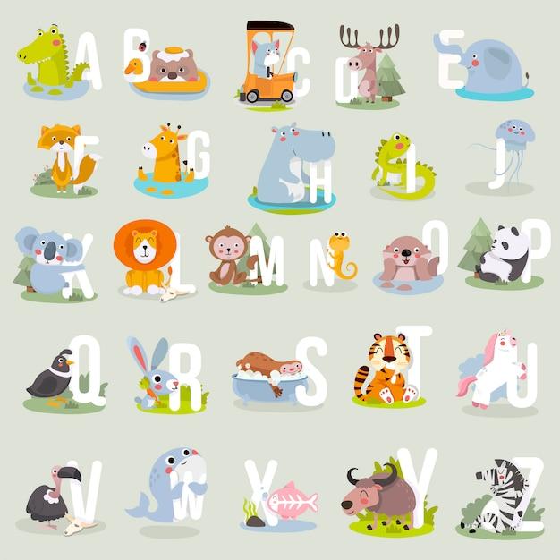 Alfabeto animal gráfico a a z. alfabeto de zoológico de vetor bonito com animais em estilo cartoon. Vetor Premium