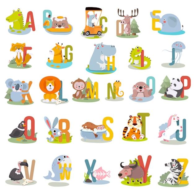 Alfabeto animal gráfico a a z. Vetor Premium