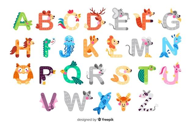 Alfabeto animal para aula de introdução à escola Vetor grátis
