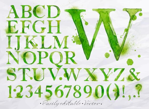 Alfabeto aquarela verde Vetor Premium