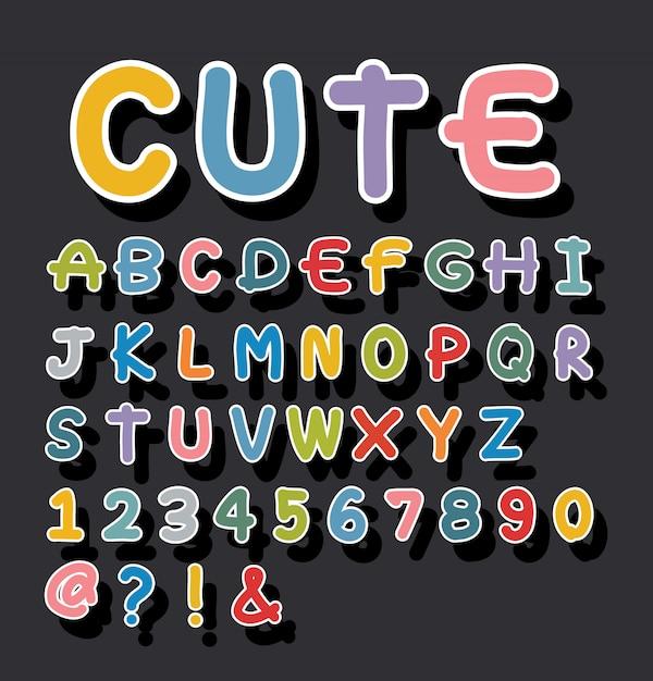 Alfabeto bonito desenhado Vetor Premium