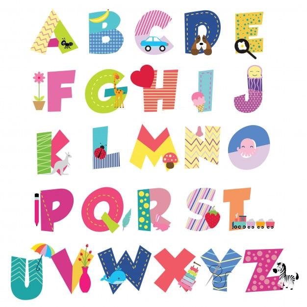 Alfabeto bonito dos desenhos animados para crianças Vetor Premium