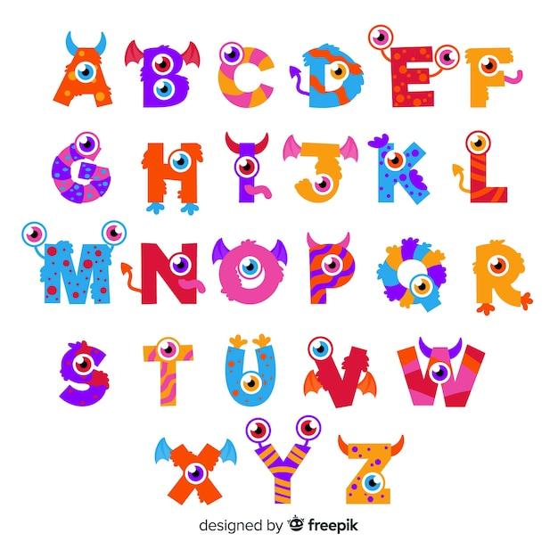 Alfabeto bonito monstro de halloween Vetor grátis
