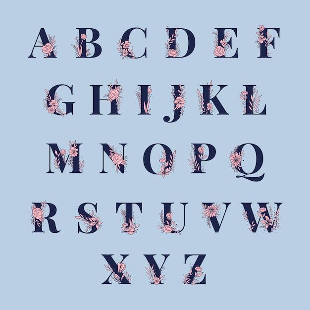 Alfabeto botânico letras maiúsculas vector set Vetor grátis