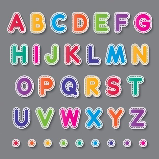 Alfabeto colorido com linhas tracejadas Vetor grátis
