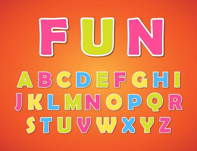 Alfabeto colorido para crianças Vetor Premium