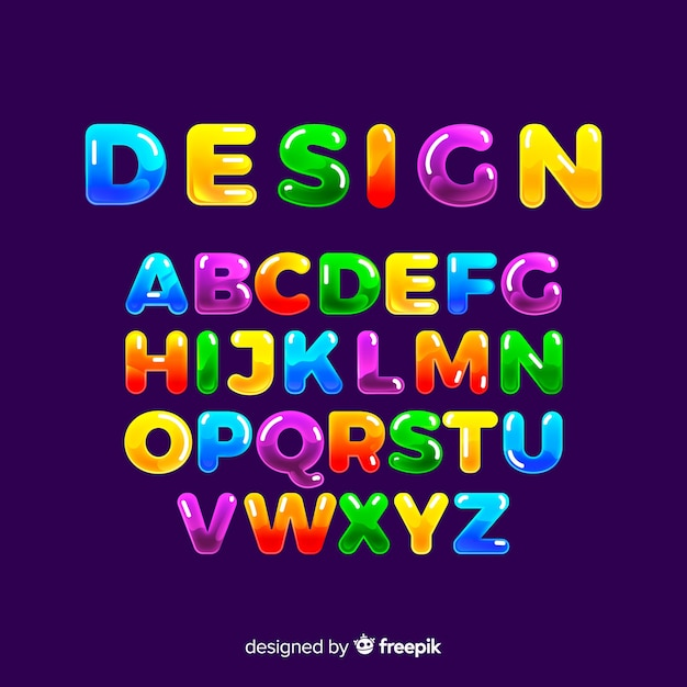 Alfabeto colorido Vetor grátis