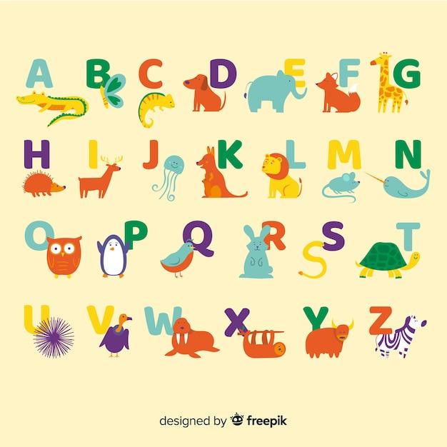 Alfabeto com animais selvagens fofos Vetor grátis