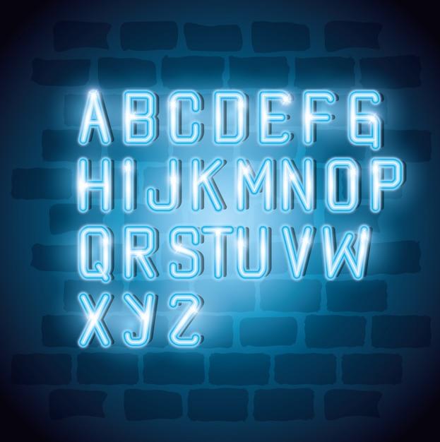 Alfabeto com decoração de luz neon Vetor Premium