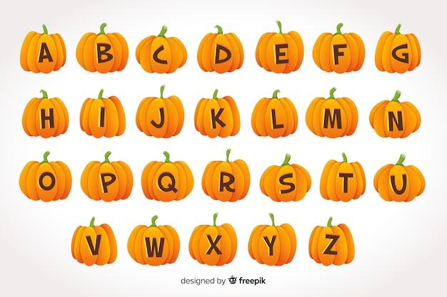Alfabeto de abóbora de halloween em fundo gradiente Vetor grátis