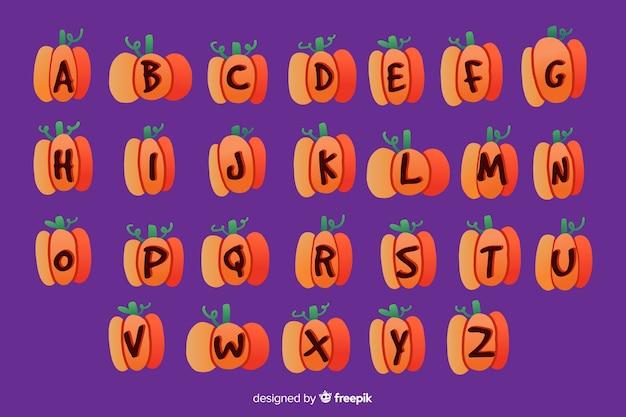 Alfabeto de abóbora de halloween Vetor grátis