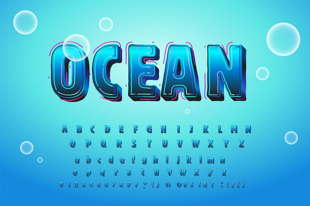 Alfabeto de água azul brilhante bonito Vetor Premium