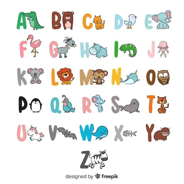 Alfabeto de animais fofos desenhado mão Vetor grátis