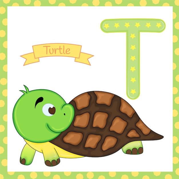 Alfabeto de animais. t para tartaruga. Vetor Premium