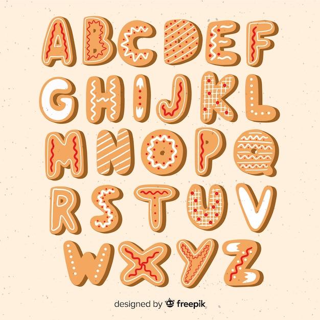 Alfabeto de biscoitos de gengibre biscoitos de gengibre Vetor grátis