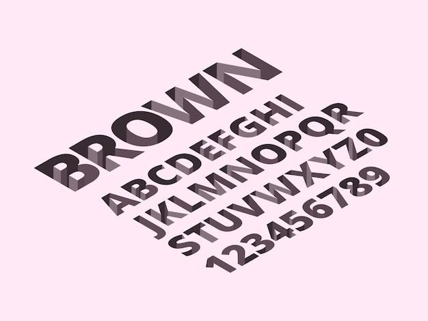 Alfabeto de buraco. letras de tijolos modernos romano, símbolos 3d isométricos Vetor Premium