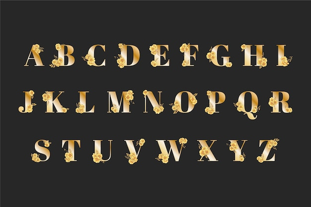 Alfabeto de casamento dourado com flores elegantes Vetor grátis