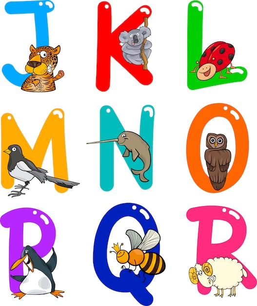 Alfabeto de desenhos animados com animais Vetor Premium