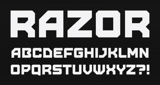 Alfabeto de estilo geométrico moderno. fonte quadrada em negrito, tipo minimalista Vetor Premium