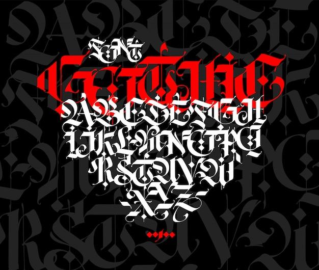 Alfabeto de estilo gótico. letras e símbolos em um fundo preto. caligrafia com um marcador branco. Vetor Premium
