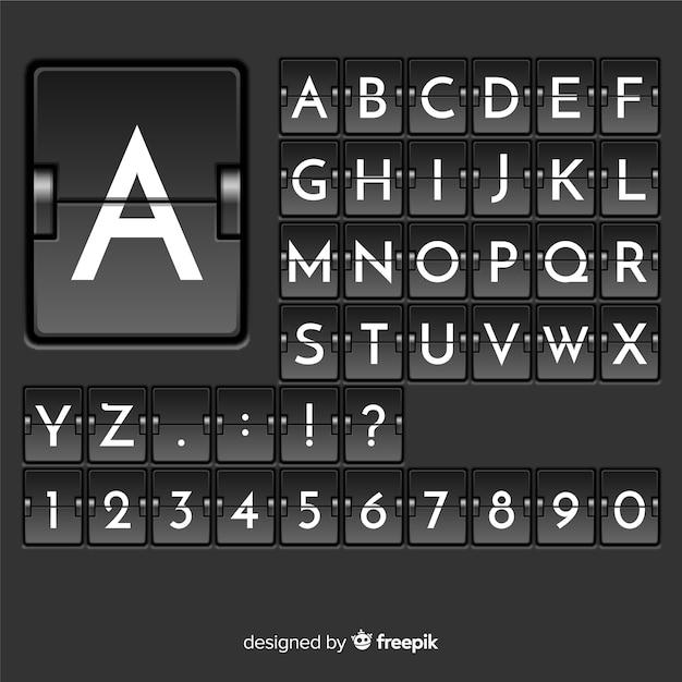 Alfabeto de estilo realista placar Vetor grátis