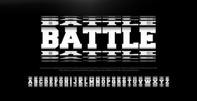 Alfabeto de fonte moderna batalha abstrata Vetor Premium