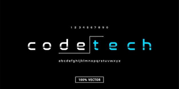 Alfabeto de fonte moderna tecnologia mínima Vetor Premium