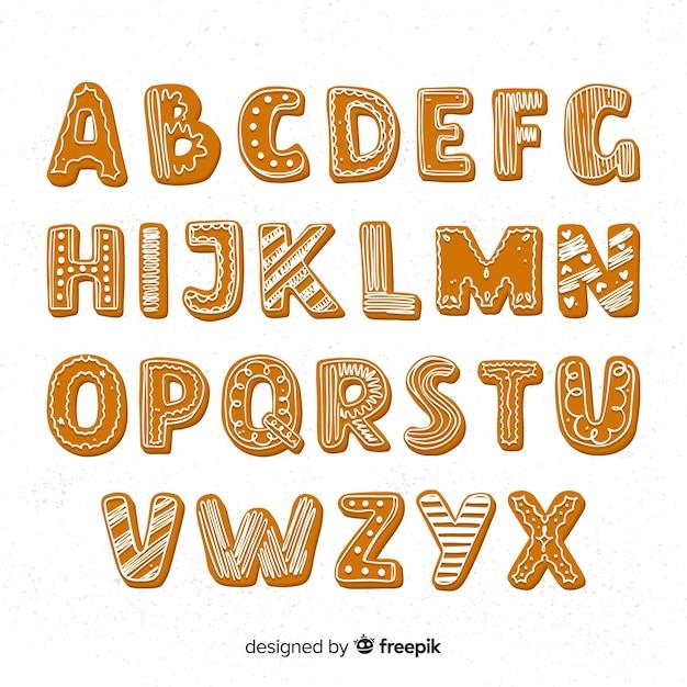 Alfabeto de gengibre Vetor grátis