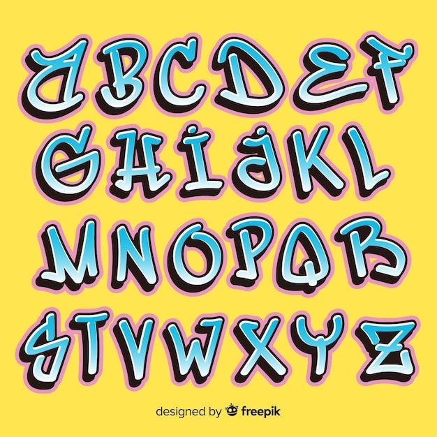 Alfabeto de graffiti Vetor grátis