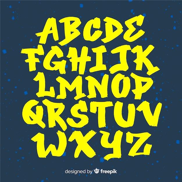 Alfabeto de graffiti Vetor Premium