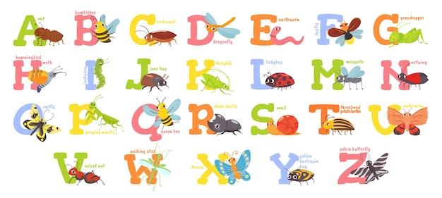 Alfabeto de insetos de desenho animado Vetor grátis