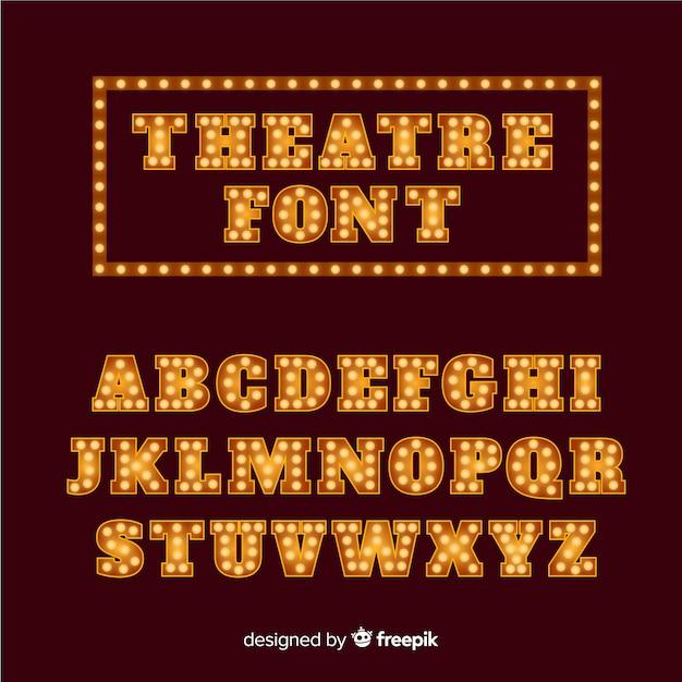Alfabeto de lâmpada de teatro dourado Vetor grátis