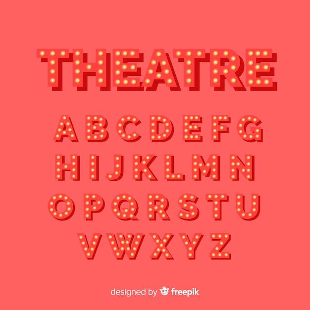 Alfabeto de lâmpada de teatro vermelho Vetor grátis