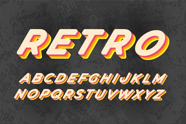 Alfabeto de letras 3d retrô com sombra colorida Vetor grátis