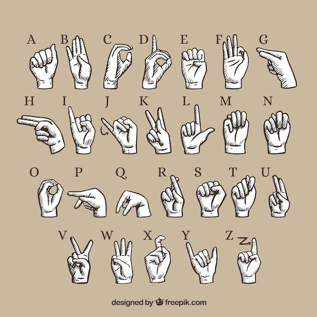 Alfabeto de língua de gesto de mão Vetor grátis