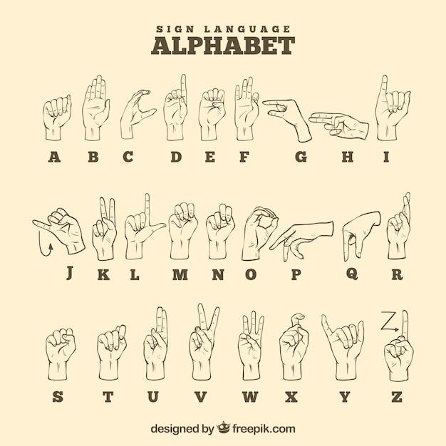 Alfabeto de língua de sinais na mão desenhada estilo Vetor grátis