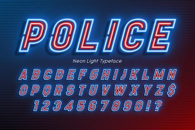 Alfabeto de luz neon, fonte brilhante extra, tipo. Vetor Premium