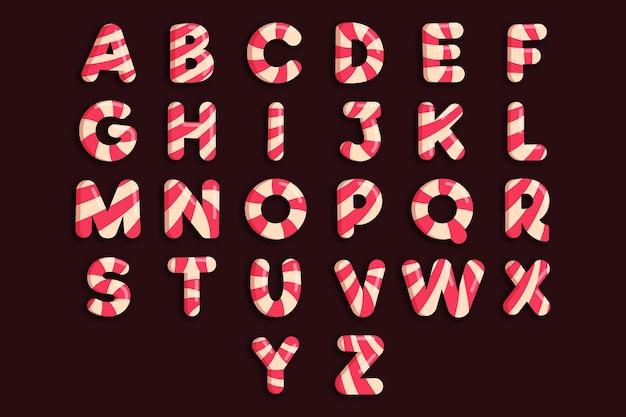 Alfabeto de natal com bastão de doces Vetor Premium