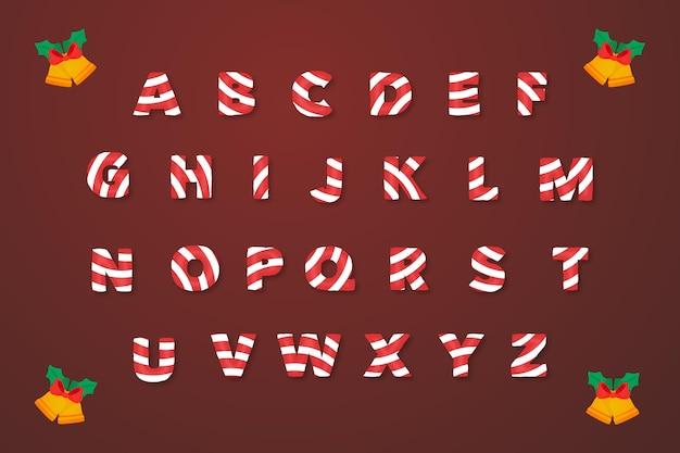 Alfabeto de natal com bastão Vetor grátis