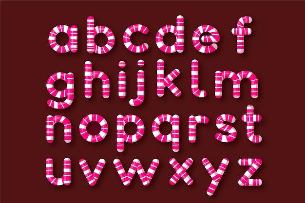 Alfabeto de natal de bastão de doces Vetor grátis